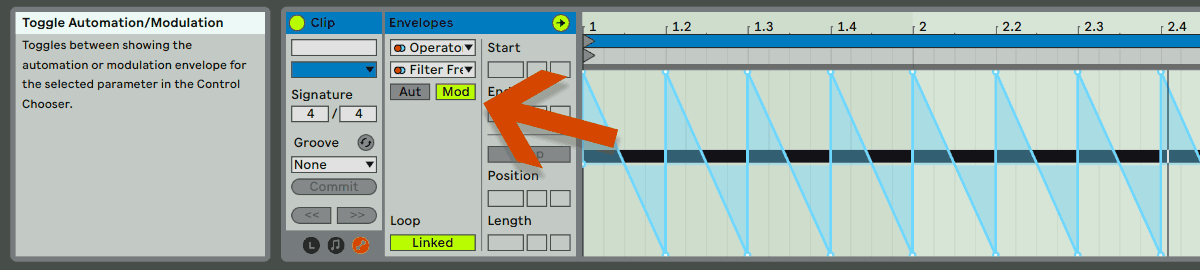 Ableton Modulation is marked with the arrow