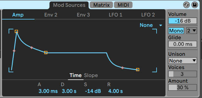 Ableton's Wavetable synth - ADSR for MS20 bass