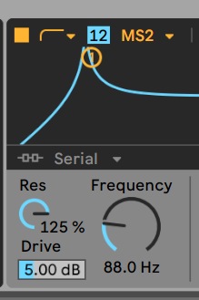 Ableton's Wavetable synth - high pass for bass boost