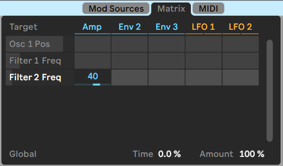 Ableton's Wavetable synth - modulation matrix